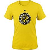 adidas Youth Girls' Columbus Crew Big Logo Yellow T-Shirt