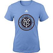 adidas Youth Girls' New York City FC Big Logo Light Blue T-Shirt