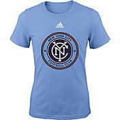adidas Youth Girls' New York City FC Big Logo Light Blue T-Shirt