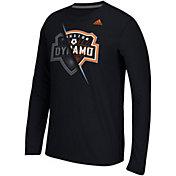 adidas Men's Houston Dynamo Uncovered Ultimate Black Long Sleeve T-Shirt