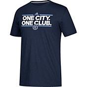 adidas Men's New York City FC Dassler Local Saying Navy Performance T-Shirt
