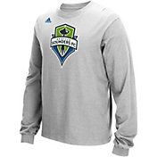 adidas Men's Seattle Sounders Long Sleeve Grey T-Shirt