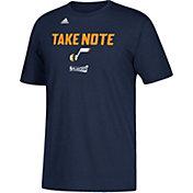 """adidas Men's Utah Jazz 2017 NBA Playoffs """"Take Note"""" Navy T-Shirt"""