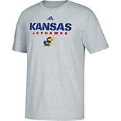 adidas Men's Kansas Jayhawks Grey Cotton T-Shirt