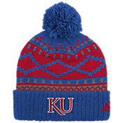 adidas Men's Kansas Jayhawks Blue Cuffed Pom Knit Beanie