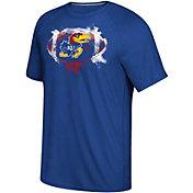 adidas Men's Kansas Jayhawks Blue Football Ultimate Short Sleeve T-Shirt