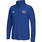 adidas Men's Kansas Jayhawks Blue Logo Long Sleeve Quarter-Zip Shirt