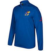 adidas Men's Kansas Jayhawks Blue Sideline Long Sleeve Quarter-Zip Shirt