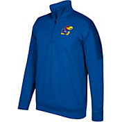adidas Men's Kansas Jayhawks Blue Team Issue Basketball Quarter-Zip Fleece