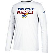 adidas Men's Kansas Jayhawks White Block Statement Ultimate Long Sleeve Shirt