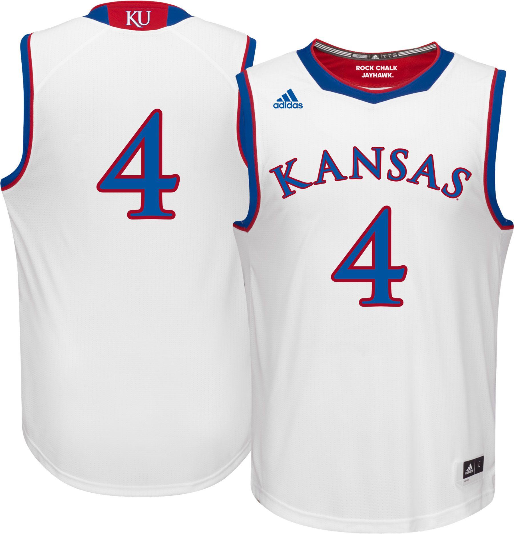 Product Image � adidas Men\u0027s Kansas Jayhawks #4 White Replica Basketball  Jersey
