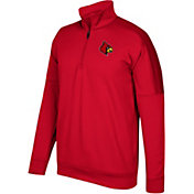 adidas Men's Louisville Cardinals Cardinal Red Team Issue Basketball Quarter-Zip Fleece