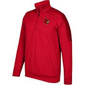 adidas Men's Louisville Cardinals Cardinal Red Team Issue Basketball Quarter-Zip Fleece