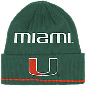 adidas Men's Miami Hurricanes Green Cuffed Knit Beanie