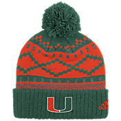 adidas Men's Miami Hurricanes Green Cuffed Pom Knit Beanie