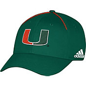 adidas Men's Miami Hurricanes Green Sideline Coaches Structured Flex Hat