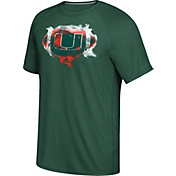 adidas Men's Miami Hurricanes Green Football Ultimate Short Sleeve T-Shirt
