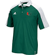 adidas Men's Miami Hurricanes Green Sideline Coaches Football Polo