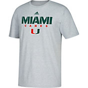 adidas Men's Miami Hurricanes Grey Cotton T-Shirt
