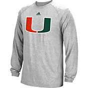 adidas Men's Miami Hurricanes Grey Sideline Spine Long Sleeve Shirt