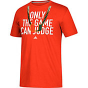 adidas Men's Miami Hurricanes Orange 'Only the Game Can Judge' Football T-Shirt