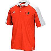 adidas Men's Miami Hurricanes Orange Sideline Coaches Football Polo