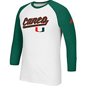 adidas Men's Miami Hurricanes Go-To Three-Quarter Performance White T-Shirt