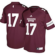 adidas Men's Mississippi State Bulldogs #17 Maroon Replica Football Jersey