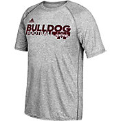adidas Men's Mississippi State Bulldogs Grey Sideline Grind Football Short Sleeve T-Shirt