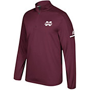 adidas Men's Mississippi State Bulldogs Maroon Sideline Long Sleeve Quarter-Zip Shirt