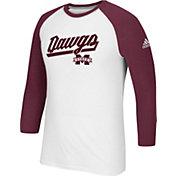 adidas Men's Mississippi State Bulldogs Go-To Three-Quarter Performance White T-Shirt