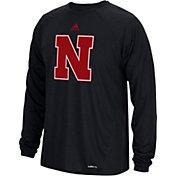 adidas Men's Nebraska Cornhuskers Sideline Spine Black Long Sleeve Shirt