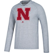 adidas Men's Nebraska Cornhuskers Grey Long Sleeve Performance Hoodie