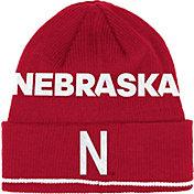 adidas Men's Nebraska Cornhuskers Scarlet Cuffed Pom Knit Beanie