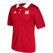 adidas Men's Nebraska Cornhuskers Red Sideline Coaches Polo