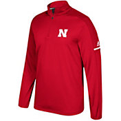 adidas Men's Nebraska Cornhuskers Red Sideline Long Sleeve Quarter-Zip Shirt
