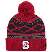 adidas Men's NC State Wolfpack Red Cuffed Pom Knit Beanie