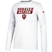 adidas Men's Indiana Hoosiers White Block Statement Ultimate Long Sleeve Shirt