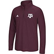 adidas Men's Texas A&M Aggies Grey Logo Long Sleeve Quarter-Zip Shirt