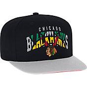 adidas Men's Chicago Blackhawks Flat Brim Black Snapback Adjustable Hat