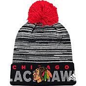 adidas Men's Chicago Blackhawks Locker Room Black Pom Knit Beanie