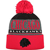 adidas Men's Chicago Blackhawks Heather Grey Pom Knit Beanie