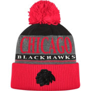 adidas Men's Chicago Blackhawks Heather Grey Pom Knit Beanie