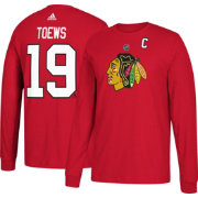 adidas Men's Chicago Blackhawks Jonathan Toews #19 Red Long Sleeve Shirt