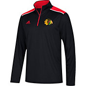 adidas Men's Chicago Blackhawks Black Performance Quarter-Zip Jacket