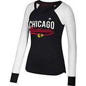 adidas Women's Chicago Blackhawks Elbow Patch Black V-Neck Long Sleeve Shirt
