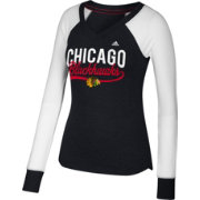 adidas Women's Chicago Blackhawks Elbow Patch Black V-Neck Long Sleeve Shirt
