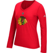 adidas Women's Chicago Blackhawks Primary Position Red Performance V-Neck Long Sleeve Shirt