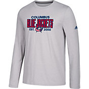 adidas Men's Columbus Blue Jackets Go-To Established Grey Performance Long Sleeve Shirt