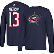 adidas Men's Columbus Blue Jackets Cam Atkinson #13 Navy Long Sleeve Shirt